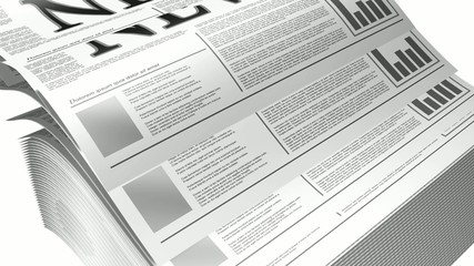 3d Animation of a newspaper UHDTV