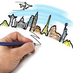mano proyectando destinos turísticos del mundo