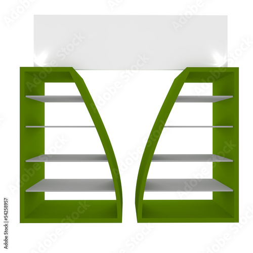 Empty green shelves
