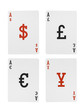 Foreign Exchange Playing Cards Aces Dollar Euro Pound Yen Symbol
