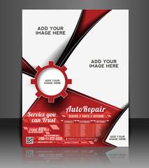 Vector Automobile Center Flyer, Magazine Cover & Poster Template