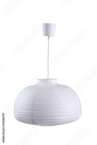 White paper ceiling lamp isolated on white background