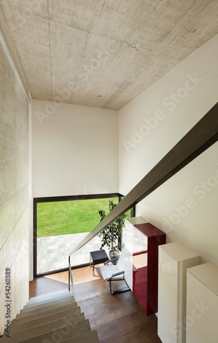 Modern villa, interior, view from the staircase