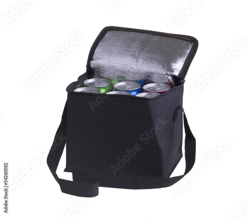 Black cooler bag filled with soft drink cans isolated on white