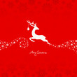 Jumping Reindeer, Christmas Ball & Stars Red/Beige