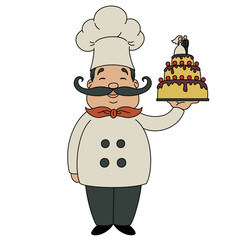 Cheerful male chef with wedding cake, isolated on white