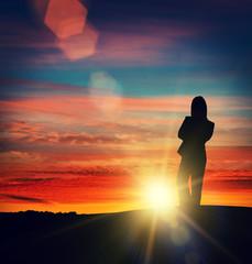 silhouette sun woman