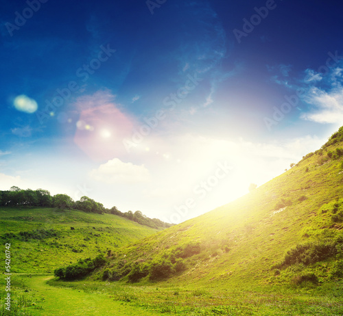 bright sun countryside
