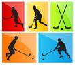 Floorball player vector silhouette background sport set