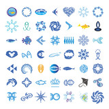 collection of vector icons with the fishes
