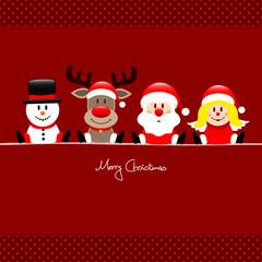 Xmas Snowman, Rudolph, Santa & Angel Red Dots
