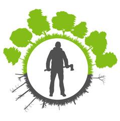 Deforestation on green ecology planet vector background