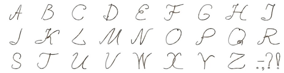 A set of letters from a wire coated with a worn