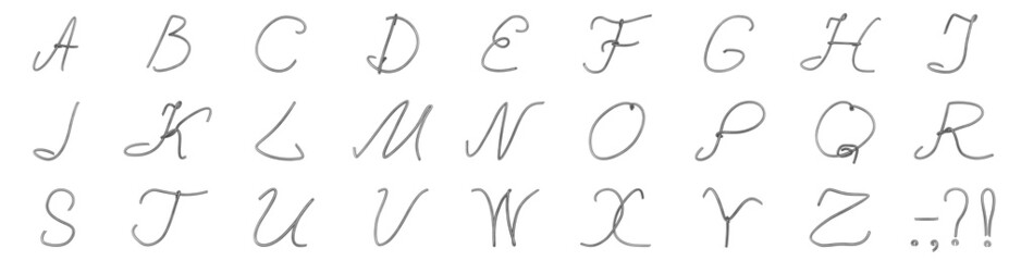 A set of letters from a wire from brushed-metall