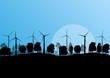 Alternative energy electricity wind generators in countryside fo