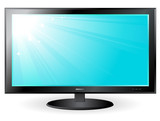 TV plasma screen with sun and sky