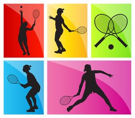 Tennis players silhouettes vector background set