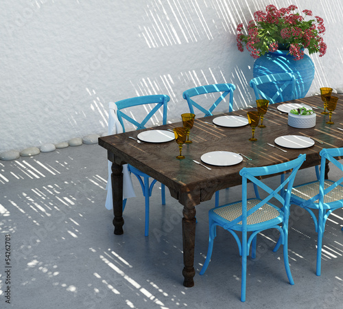 Aegean luxury beach house, Greek summer  dining table