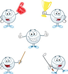 Golf Ball Cartoon Character With Five Different Poses