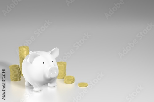 Piggy bank - piles of coins