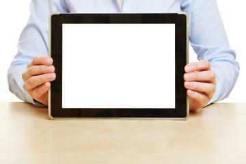 Hände halten Tablet Computer
