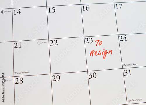 To resign from job put in calendar