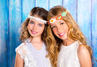 Children friends girls hippie retro style smiling together