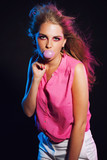 Sensual retro 80s fashion bubble gum girl with long blonde hair. poster