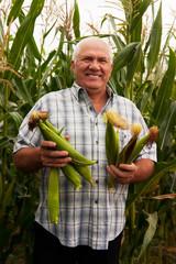 man with corn ears