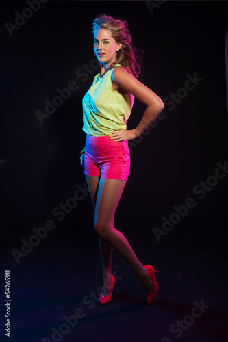 poster of Sexy retro 80s fashion disco girl with long blonde hair and gree