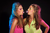Two cool retro 80s fashion bubble gum girls with long blonde hai poster