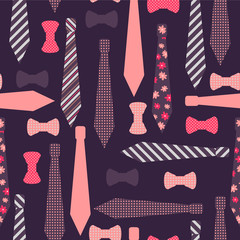 Seamless pattern with ties and bow-ties