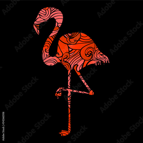 Silhouette of a flamingo filled with decorative texture © paw