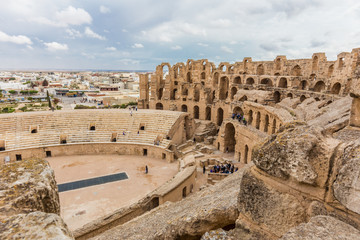 ancient colosseum in El Jem, Tunisia