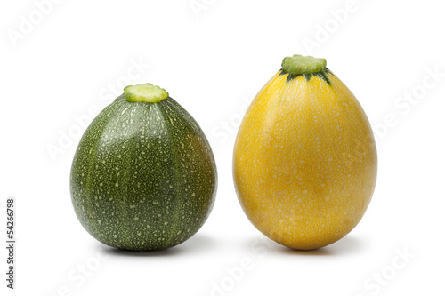 Green and yellow round zucchini