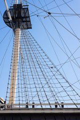 Shrouds and crow`s nest of the sail boat