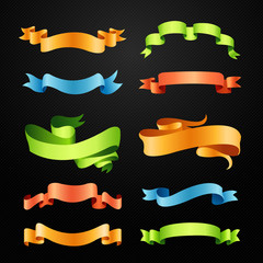 Set of full colors ribbons vector illustration