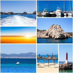 summertime theme photo collage.  travel collage