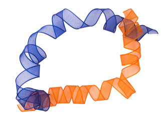 orange and blue ribbon surronding copyspace