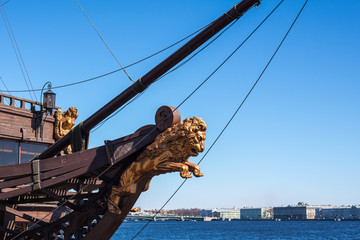 Bow of the sail boat with figurehead of the lion
