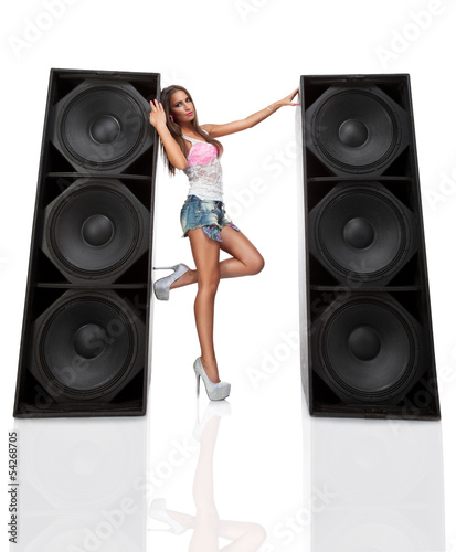 Attractive woman with speaker
