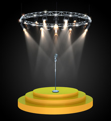 Old fashioned microphone on 3d empty stage with spotlight