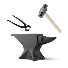 anvil, tongs and a blacksmith's hammer
