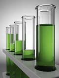 Green  chemical test tubes