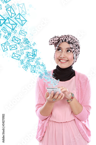 Beauty woman holding smartphone
