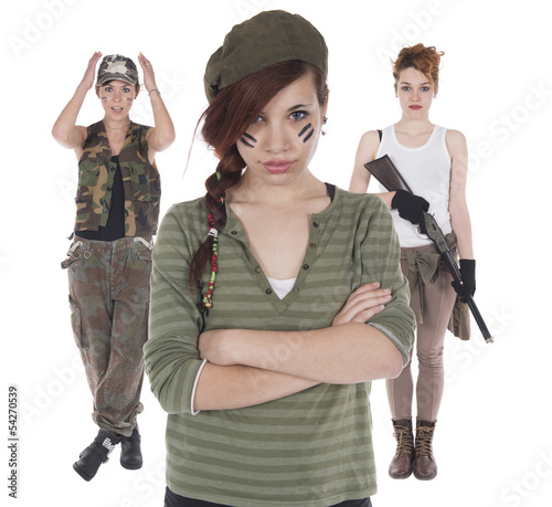 Three girls improvised soldiers