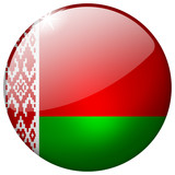 Belarus round realistic glass flag button isolated on white