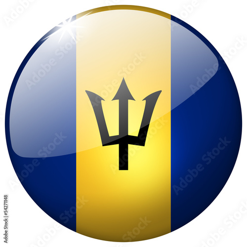 Barbados round realistic glass flag button isolated on white