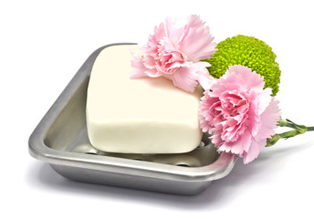 soap bar with flowers
