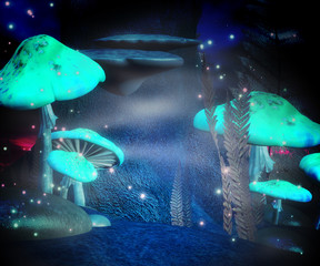 Magic Mushrooms Night Backdrop